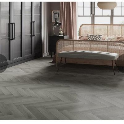 Antique Grey Oak Herringbone Luxury Rigid Core Click Vinyl Flooring