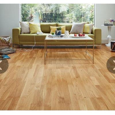 Engineered European Nature Oak Flooring 14mm x 207mm 3 Strip Lacquered