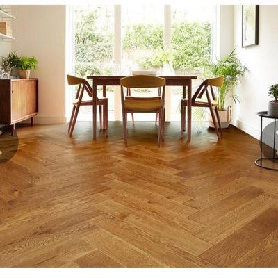 Herringbone Engineered European Rustic Oak Flooring 14mm x 130mm Brown Sugar Lac