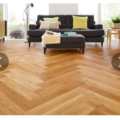 Herringbone Engineered European Select Oak Flooring 14mm x 130mm Caramel Lacquer