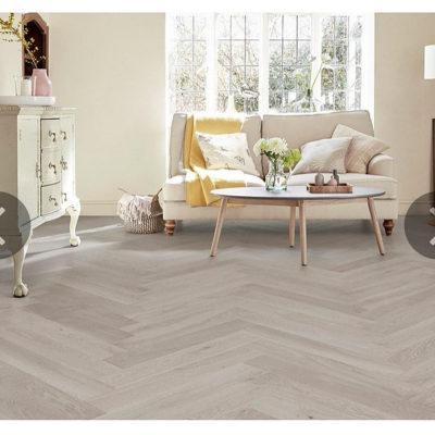 Herringbone Engineered European Select Oak Flooring 14mm x 130mm Marzipan Lacquer